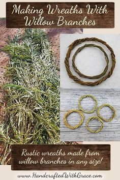 Making wreaths with willow branches is a quick and easy project to save you money rather than buying pre-made wreaths. Willow Tree Art, Willow Wreath, Willow Branches, Tree Branches, Tree Branch Crafts, Branch Decor, Farm Crafts, Camping Crafts, Diy Crafts
