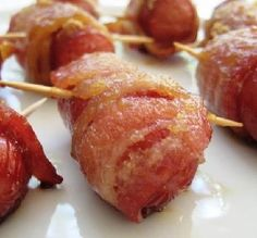 "Hot Dog & Bacon Roll-Ups: ""I renamed this recipe 'Heaven' because these hot dog and bacon appetizers taste so good! The brown sugar gives them just the right amount of sweetness."" -Chorizo16"