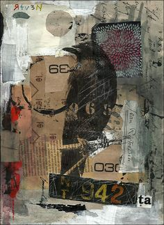 PRINT art from Original abstract collage & drawing mixed media art painting assemblage raven crow one of a kind OOAK best gift