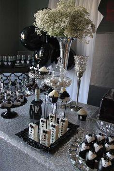 Tuxedo Birthday Party Ideas - Tuxedo - Ideas of Tuxedo - Tuxedo Birthday Party Ideas 60th Birthday Party, Birthday Celebration, Birthday Table, Birthday Ideas, Black Tie Party, James Bond Party, Birthday Decorations, Table Decorations, Man Party