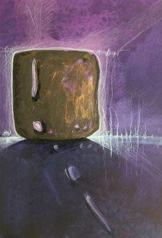 """Acryl - """"Kosmischer Würfel"""" ca 46 x 34 cm 2017 Glow Paint, Vibrant Colors, Abstract Art"""
