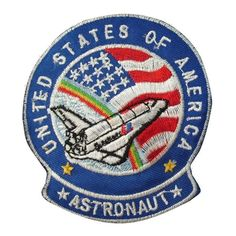 1 Piece ASTRONAUT Iron On Patch Embroidered Motif Applique NASA USA Space Mission Aeronautical Decal 3.2 x 2.9 inches