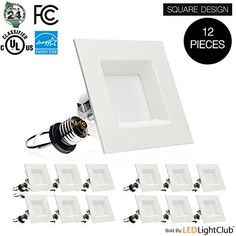 12Pack 4inch LED Square Downlight LED Trim 10W 60W Replacement Recessed Light Retrofit LED Recessed Lighting Fixture Dimmable Retrofit Kit Down Light 3000K Soft White LED Ceiling Light -- Want to know more, click on the image.