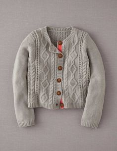 BodenClothing Cosy Cable Cardigan Pale Grey Melange.  Get Mum to make.  4 skeins of Martha Stewart wool.