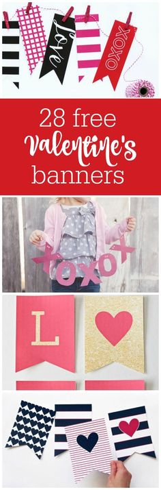 28 free Valentine's Day printable banners curated by The Party Teacher | http://thepartyteacher.com/2016/01/15/freebie-friday-28-free-valentines-printable-banners/