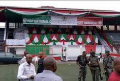 Police Takes Over Venue of PDP Convention (Photos)   Some persons were determined to rubbish the rule of law but the security agencies have stepped in to make prevent the break down of law and order. The very first High Court judgement on this matter in Lagos made it clear that the initial Port Harcourt convention that produced the Ahmed Makarfi-led caretaker committee was illegal and that Ali Mudo Sheriff remains the chairman of PDP.  The right thing for anyone especially the PDP governors…