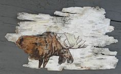 Hand Painted Moose on Birch Bark, Framed