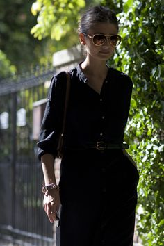 black blouse and trousers