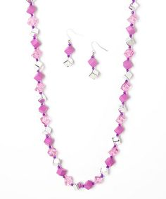 This Silver & Pink Cube Bead Necklace & Earrings by Ethel & Myrtle is perfect! #zulilyfinds