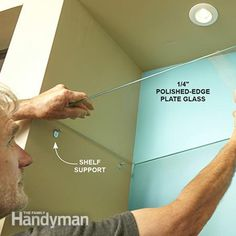 Install glass shelves or another type of shelf if your built-in bookcase plan is different. - Showcase Built-In Bookcase Plans: http://www.familyhandyman.com/woodworking/bookcase/showcase-built-in-bookcase-plans/view-all