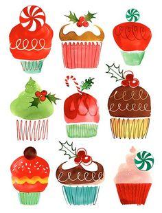 Margaret Berg Art: Holiday+Cupcakes+Ensemble