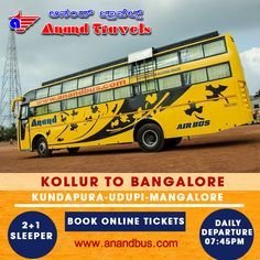 Daily service from Kollur ( Mookambika) to Bangalore Via Kundapura, Udupi, Mangalore. Book Online Tickets and get flat 5% off on all tickets.  http://www.anandbus.com/e-bookings/1870/Kollur/16/Bangalore/ #Kollur #Bangalore #Mangalore #Udupi #Bus