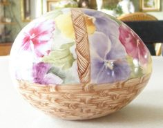 Large Artist Signed Hand Cast Hand Painted Pansy by Calessabay, $79.95