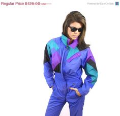 20 OFF SALE Vintage 1980's One Piece Ski Jumpsuit Snow by navelte, $100.00