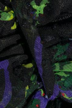 Anna Sui - Bird Garland Cutout Lace-paneled Fil Coupé Chiffon Mini Dress - Black - US8