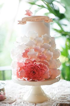 We're in love with this girly ombre cake for a romantic wedding style! {Carrie Wildes Photography}