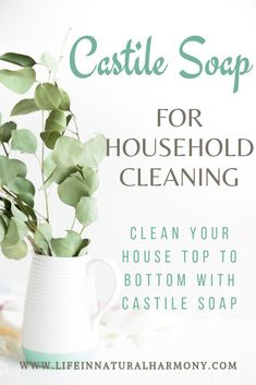 Replace chemical-based household products with non-toxic castile soap. Check out how one bottle of castile soap can eliminate many toxic products from being used in your home Natural cleaning products Castile Soap Uses, Castile Soap Recipes, Natural Cleaning Solutions, Natural Cleaning Recipes, Cleaning Tips, Green Cleaning, Homemade Cleaning Products, Natural Cleaning Products, Household Products