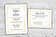 Navy blue and gold wedding invitations kit printed with rsvps elegant art deco wedding invitations set printed cheap wedding invitations affordable wedding invitations filmwisefo