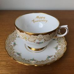 Items similar to Happy Anniversary Teacup and Saucer, Tuscan China Extra Large Tea Cup and Saucer, Gold Lace and Floral Bone China on Etsy Scroll Pattern, Little Flowers, Gold Lace, Tea Cup Saucer, Happy Anniversary, Bone China, Tea Pots, Great Gifts, Hand Painted