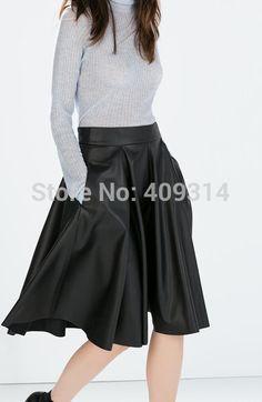 dc54e3c220e 6XL 7XL 2016 New Summer Plus Size Women Vintage Saia De Couro Longa High  Waist Zipper A line Midi Faux PU Leather faldas Skirts-in Skirts from  Women s ...