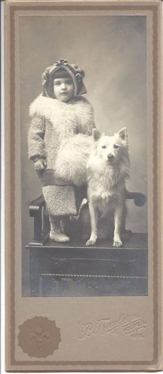 Child with DOG (Spitz?) Victorian cabinet card - Hooper, Nebraska - EXCELLENT