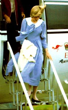 August 16, 1982:  Princess Diana arrives at Aberdeen Airport for the start of the annual summer holiday at Balmoral, Scotland.