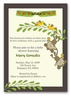 Monkey Business Monkey Baby Shower Invitation Twins..love this...our theme for the babies room!!!