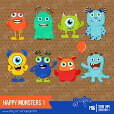 HAPPY MONSTERS 1 Digital Clipart Imagenes Monstruos / por grafos