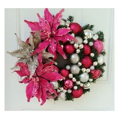 Pink Silver Christmas Wreath Poinsettias Holiday Door Wreath ❤ liked on Polyvore featuring home, home decor, holiday decorations, pink wreath, silver home decor, holiday home decor, silver wreath and pink door wreaths