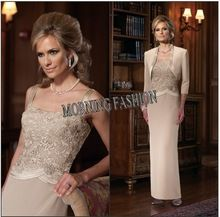 Beige Plus size formal dress Cream Venice lace over bodice mother of the groom dresses for fat women(China (Mainland))