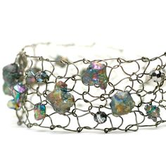 Rainbow Pyrite Steel Thin Cuff Bracelet / Peacock Ore / Natural Rough Stone Nugget / Chalcopyrite LIMITED edition
