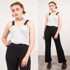 98da70b784a Black   white wide leg jumpsuit womens vintage 90 s strappy casual v-neck 10