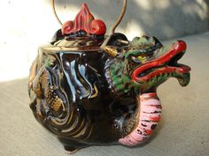 Vintage Ceramic Dragon Teapot by Lkwhatthecatdraggedn on Etsy, $22.00