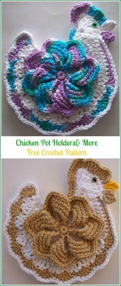 Crochet Chicken Potholder Free Patterns Easter Table Crochet Hot Pads, Bag Crochet, Crochet Potholders, Easter Crochet, Crochet Crafts, Crochet Projects, Crochet Ideas, Crochet Baby, Crochet Sloth