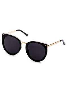 248ed7207d4 Online shopping for Black Metal Trim Cat Eye Sunglasses from a great  selection of women s fashion clothing   more at MakeMeChic.