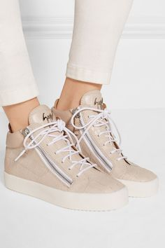 Giuseppe Zanotti Woman London Leather And Metallic Suede Sneakers Bright Size 39 7l8Pf
