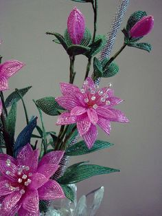 Beaded Plant Gorgeous Pink by artofbeads on Etsy