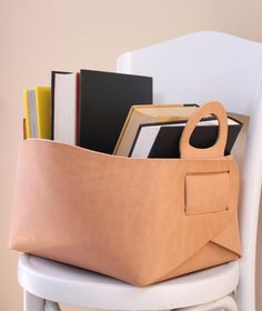 Leather storage tote