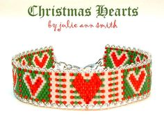 Julie Ann Smith Designs CHRISTMAS HEARTS Odd Count Peyote Bracelet Pattern