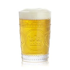 Pint-style beer glass with embossed crowns and textured flourishes pays royal tribute to a well-crafted brew. A durable, versatile and fun glass for all kinds of beverages.