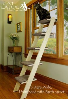 High Quality Hand Crafted 5 Step Cat Ladder | Cat Ladder Feline Furniture...nicely Made
