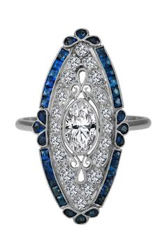Solid sterling silver 925 Cz marquise Blue Baguette Art Deco Engagement Ring New #NIKI #Solitaire #Engagement