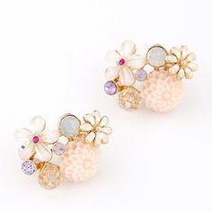 Sample Beige Diamond Decorated Flower Design Alloy Stud Earrings  http://earrings.asumall.com/