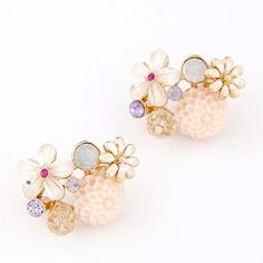 Sample Beige Diamond Decorated Flower Design Alloy Stud Earrings  http://earrings.asumall.com/