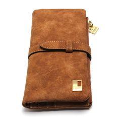 2016 New Fashion Women Wallets Drawstring Nubuck Leather Zipper Wallet Women's Long Design Purse Two Fold More Color Clutch