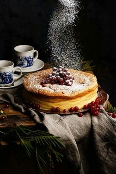 pancake with berries and a sprinkling of something