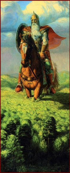 """Svyatogor is the giant-warrior in Russian mythology and folklore. His name is a derivation from the words """"sacred mountain"""". He and his mighty steed are so large that, when they ride forth, the crest of his helmet sweeps away the clouds."""
