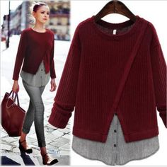 Women Long Sleeve Fashion Sweater Together Baggy Jumper Knit Blouse Tops