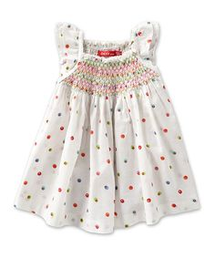 Take a look at this White Polka Dot Smocked Blouse - Infant, Toddler & Girls by Oilily on #zulily today!