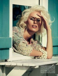Back-blowned hair with defined drawn eyebrows.  Karolina Kurkova – Vogue Germany April 2013 Issue